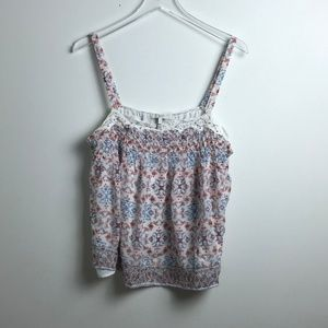 Joie Ivory Smocked Floral Tank Top L